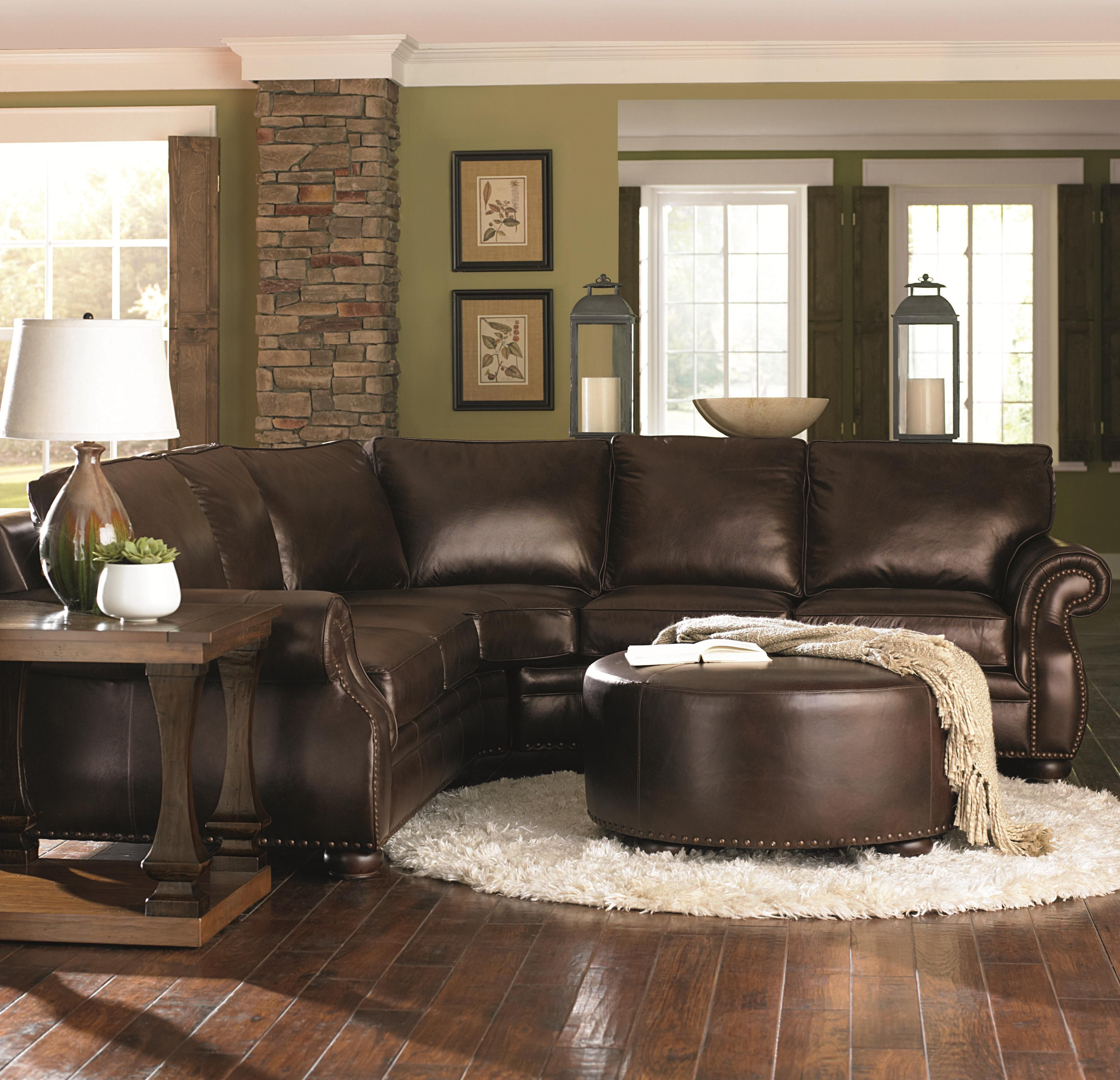 Chocolate Brown Leather Sectional W Round Ottoman Love Love Love Recent  Leather Couch Decorating Ideas Living Room