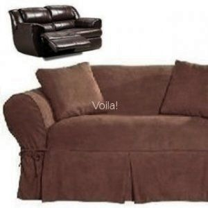 Reclining LOVESEAT Slipcover Adapted for Dual Recliner Love seat Suede  Chocolate