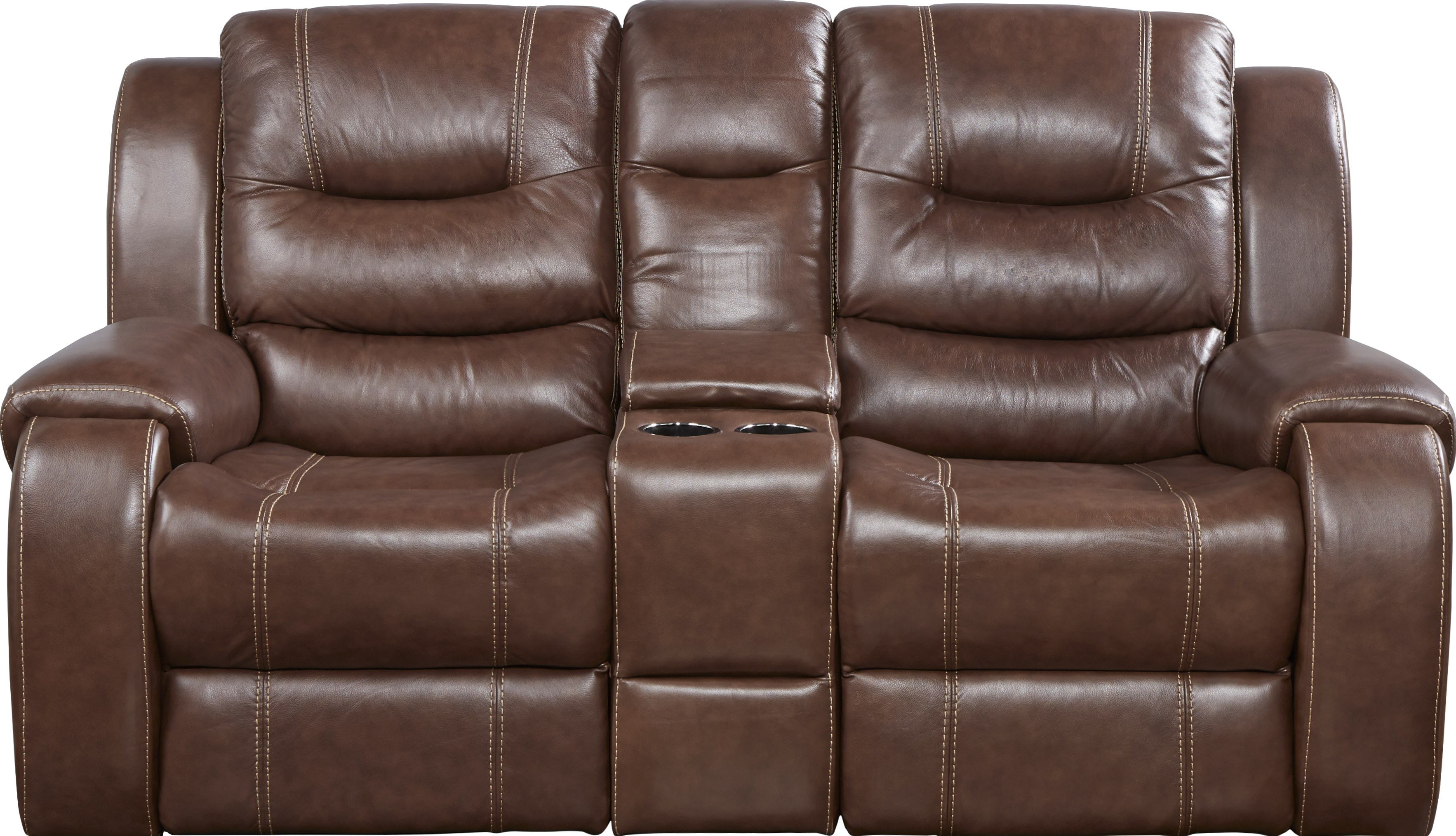 Veneto Brown Leather Reclining Console Loveseat - Leather Loveseats (Brown)