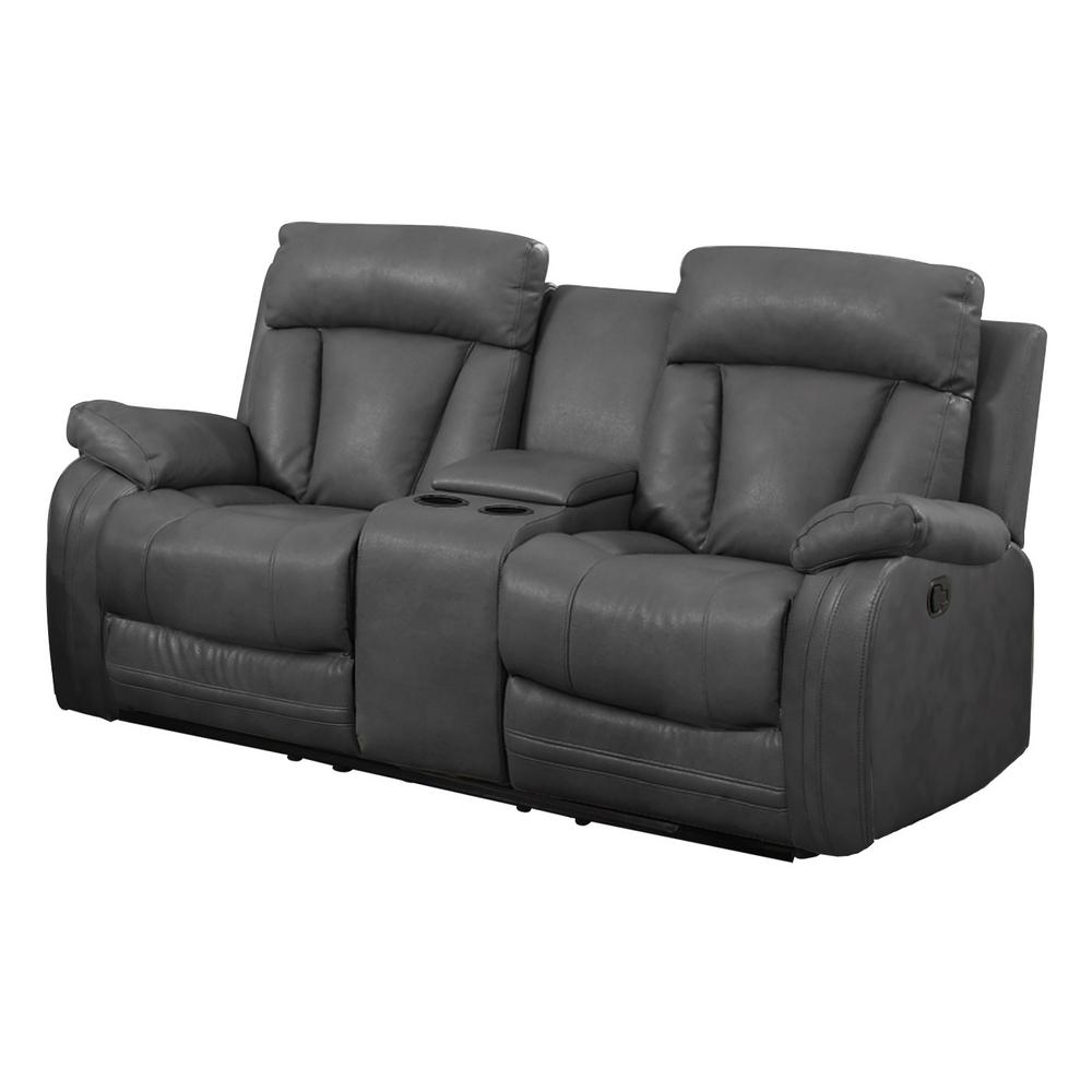 Gray Bonded Leather Motion Loveseat (2 Reclining Seats) and Console