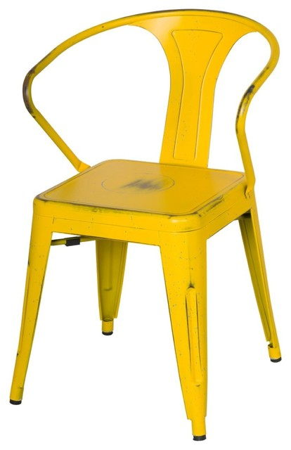 Metropolis Metal Arm Chair, Disstressed Yellow - Contemporary - Dining  Chairs - by novidesignhub