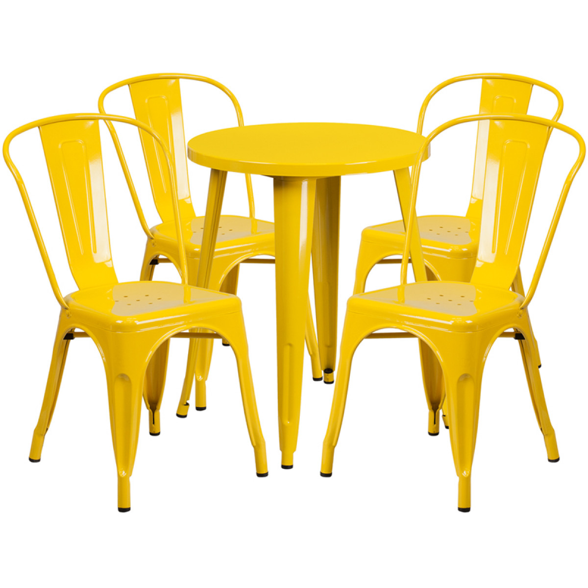 24' Round Yellow Metal Indoor-Outdoor Table Set with 4 Cafe Chairs CH