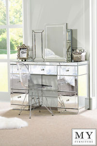 Image is loading Large-TOUGHENED-Mirrored-furniture -Dressing-Console-table-desk-