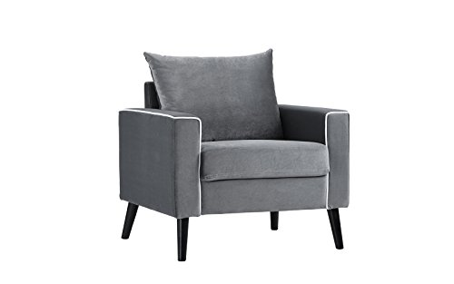 DIVANO ROMA FURNITURE Mid-Century Modern Velvet Fabric Armchair Living Room  Accent Chair (Dark