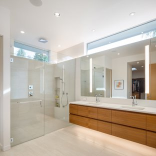 Alcove shower - modern master beige floor alcove shower idea in Portland  with flat-panel