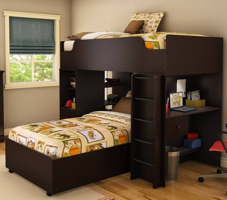 This sleek and modern bed features a perpendicular-aligned lower twin bed  beneath rich dark