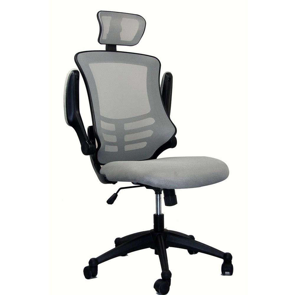 Techni Mobili Silver Grey Modern High-Back Mesh Executive office Chair with  Headrest And Flip Up Arms-RTA-80X5-SG - The Home Depot