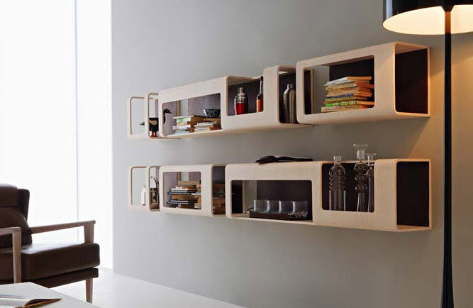 wall-mounted bookcase / modular / contemporary / wooden - CYBER by  Pierpaolo Zanchin