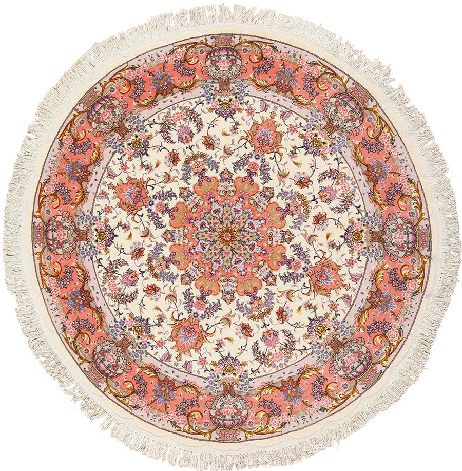 Modern Round Silk and Wool Persian Tabriz Rug 49558