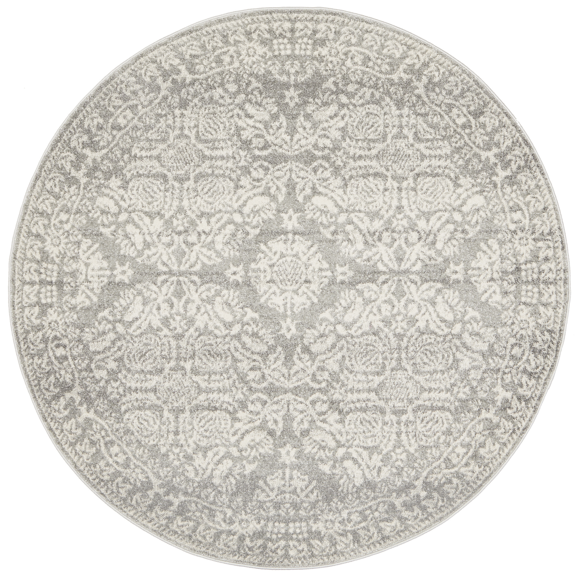 SKU #NETW7127 Oxus Silver & Grey Power Loomed Modern Round Rug is also  sometimes listed under the following manufacturer numbers:  MIR-358-SIL-150X150,