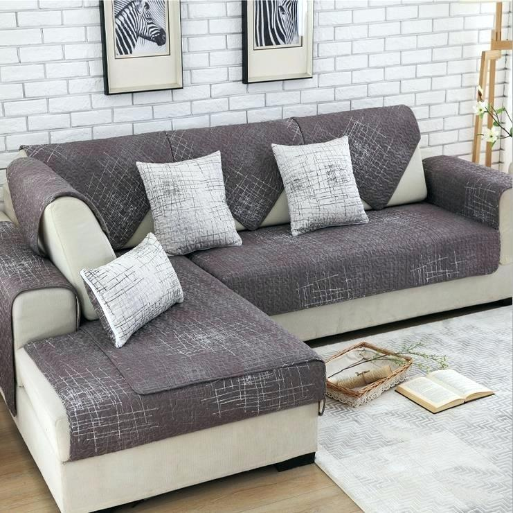 modern couch covers 1 piece sofa cover modern brief brown beige printing  soft modern slip resistant