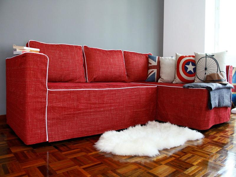 Image of: red couch slipcovers