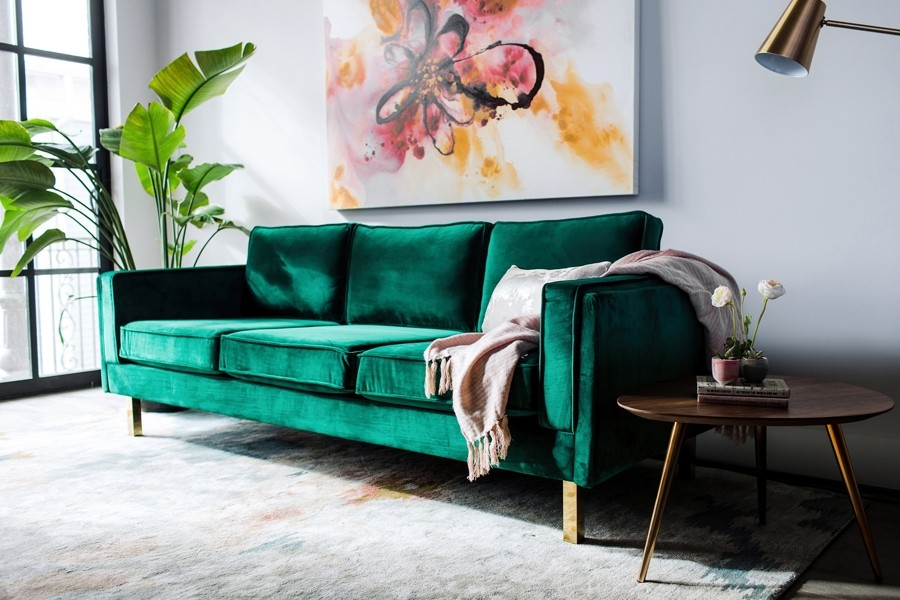 Lexington Mid-Century Modern Velvet Sofa by edloe finch, showing angle  view of lexington
