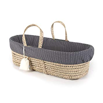 Traveller Location : Tadpoles Line Stitched Moses Basket and Bedding Set, Grey :  Baby