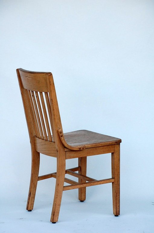 Oak Set of 5 robust and comfortable bleached oak dining chairs For Sale