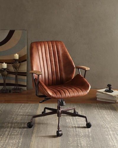 Add an edgy industrial style to your home office with the Hamilton Leather Office  Chair. This swivel and adjustable chair has a top grain leather upholstery