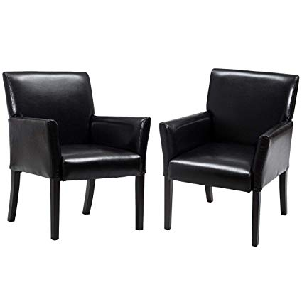 Giantex Leather Reception Guest Chairs Set Office Executive Side Chair  Padded Seat Ergonomic Mid-Back