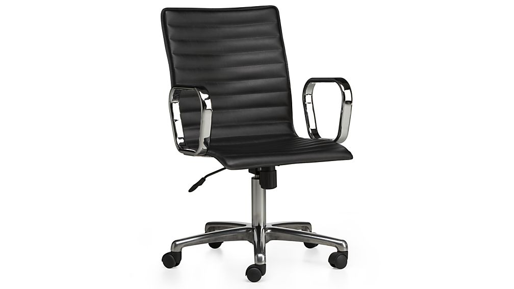 Ripple Black Leather Office Chair with Chrome Base + Reviews | Crate and  Barrel