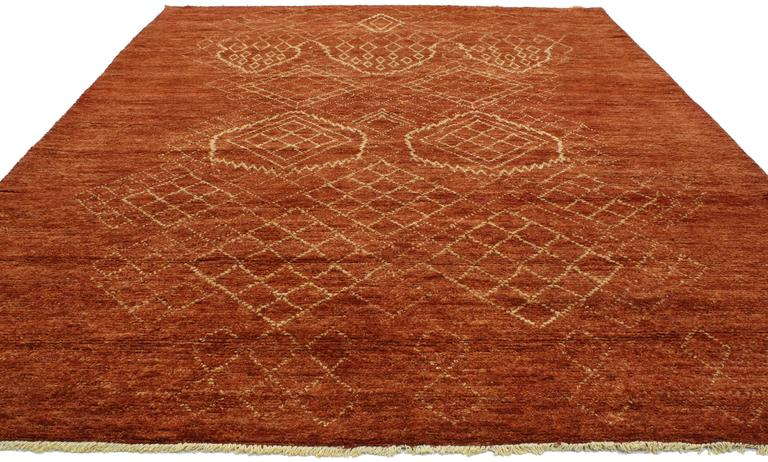 Mid-Century Modern Contemporary Moroccan Style Burnt Orange Rug with Tribal  Design For Sale