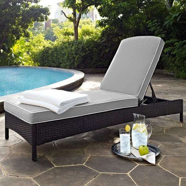 Shop Palm Harbor Brown Wicker Outdoor Chaise Lounge with Grey Cushions -  Free Shipping Today - Overstock - 14788411