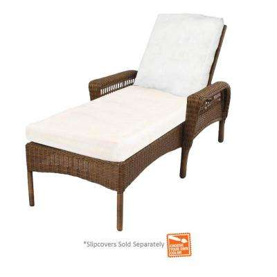 Spring Haven Brown Wicker Patio Chaise Lounge