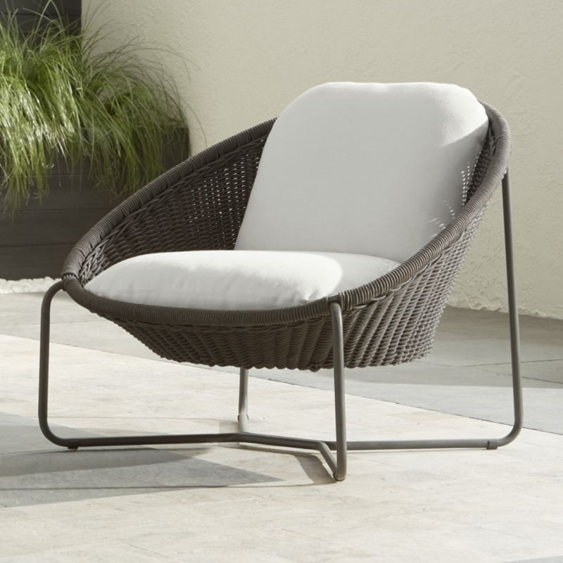 Morocco Graphite Oval Lounge Chair with Cushion + Reviews | Crate and Barrel