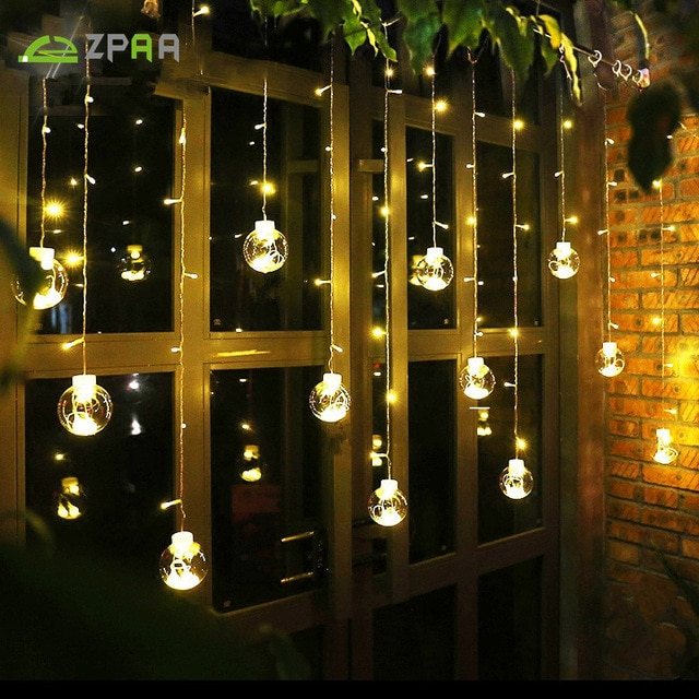 ZPAA 3M 138LED Ball Globe String Lights Curtain String Fairy Light