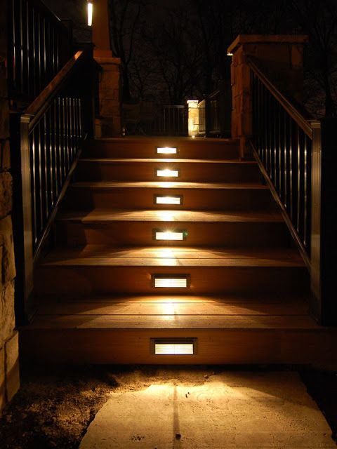outdoor stair lighting: Elegant outdoor wooden staircases with LED