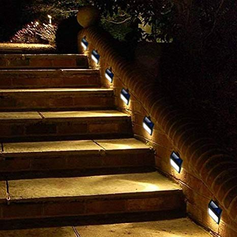 Amazon.com : 6 Pack Solar Powered Wall Lights, Solar Stair Lights