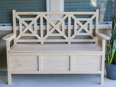 DIY Outdoor Storage Bench: Finish the Bench Outdoor Storage, Porch Bench  With Storage,