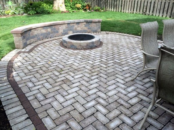 Backyard Pattern Paver Patio Ideas With Built In Fire Pit