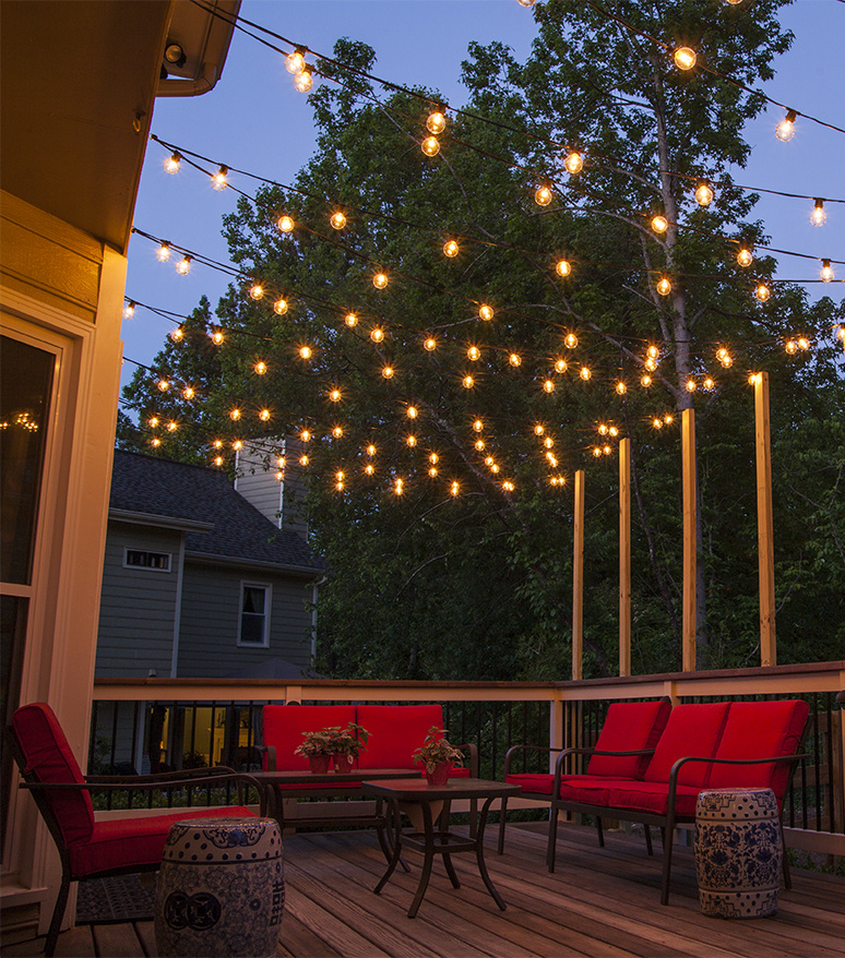 Amazing patio string lights patio lights hanging across a backyard deck  ifmkcyn