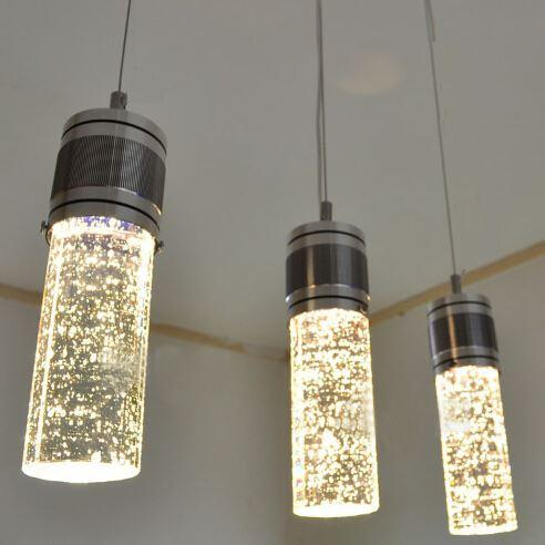 Modern LED Bubble Column Crystal Hanging Lamp Three Lamps Chandelier