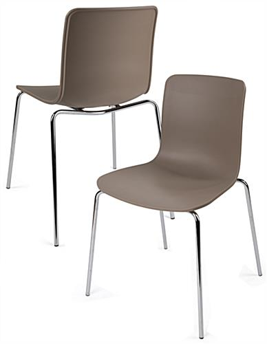 Set of 2 Modern Plastic Chairs | Scooped Molded Seat