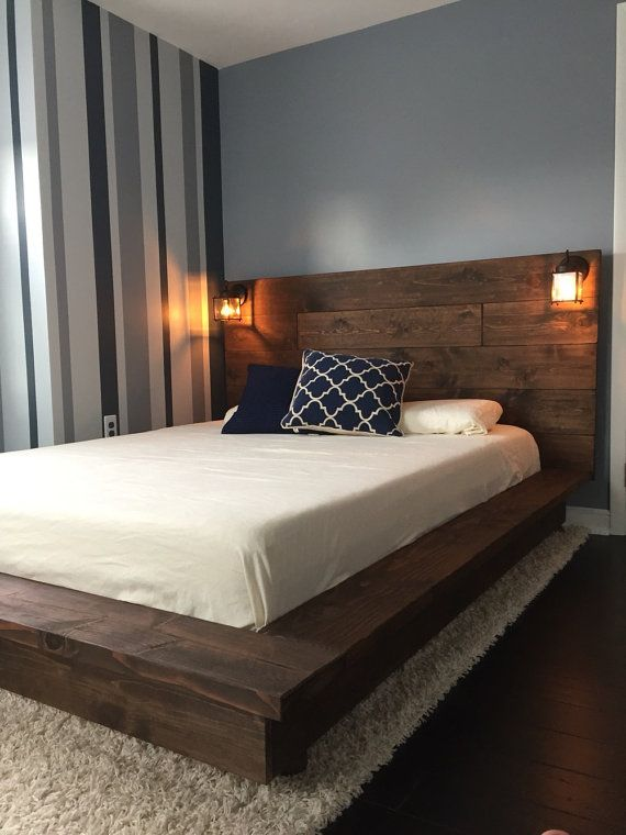 Floating Wood Platform Bed frame with Lighted Headboard-Quilmes | Ideas for  the House | Wood platform bed, Platform bed frame, Wood beds