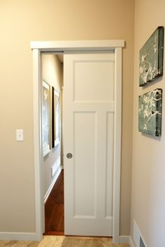 Pocket Door | white molded craftsman style interior pocket door; perfect  for areas with minimal
