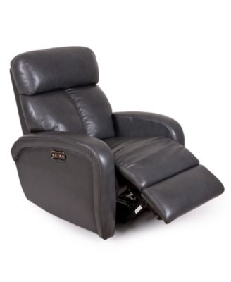 Furniture Criss Leather Power Recliner with Power Headrest and USB Power  Outlet