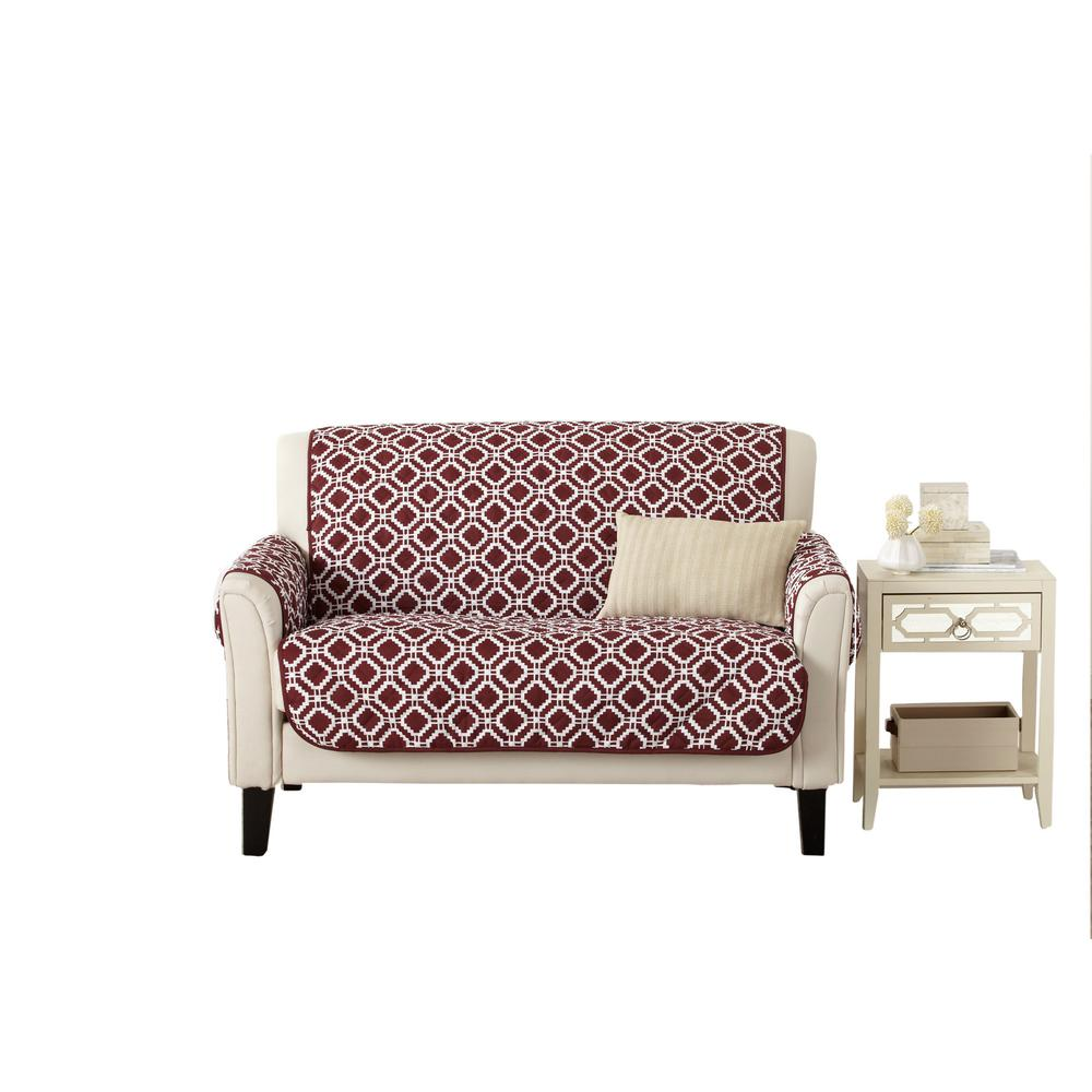 Great Bay Home Liliana Collection Oxblood Red Printed Reversible Loveseat  Furniture Protector-GB38050 - The Home Depot