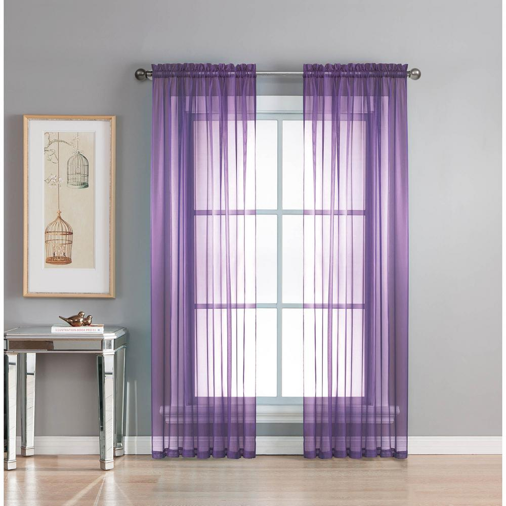 Window Elements Sheer Diamond Sheer 56 in. W x 95 in. L Rod Pocket