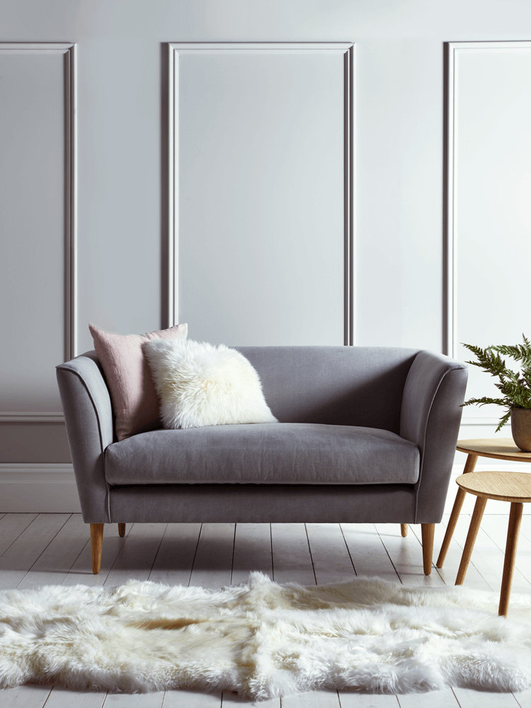 Handmade in the UK with a solid birch and beech hardwood frame, our high  quality occasional sofa is finished in a soft grey flatweave cotton and  four