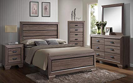 Amazon.com: Kings Brand 6-Piece Queen Size Black/Brown Wood Modern
