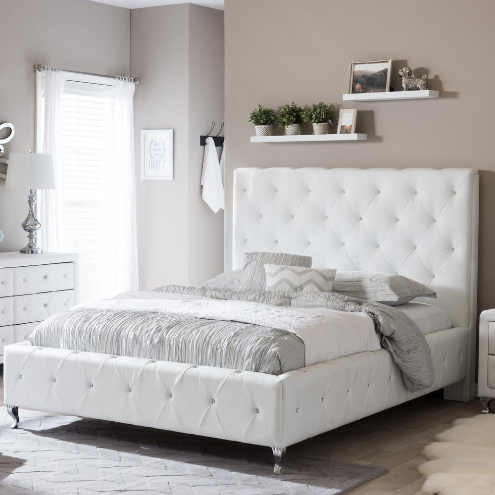 Baxton Studio Stella Transitional White Faux Leather Upholstered Queen Size  Bed-28862-4285-HD - The Home Depot