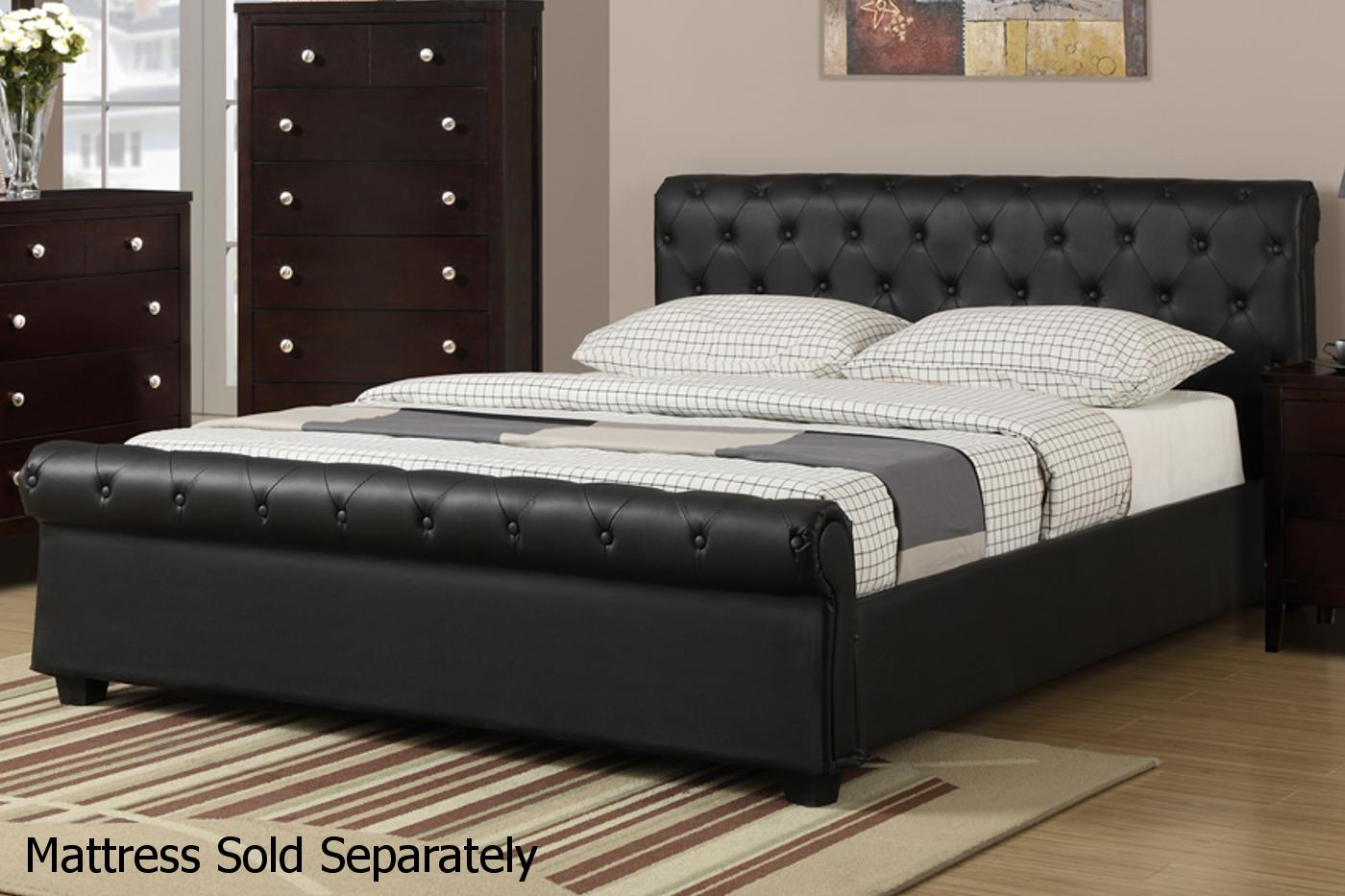 Black Leather Queen Size Bed - Steal-A-Sofa Furniture Outlet Los Angeles CA