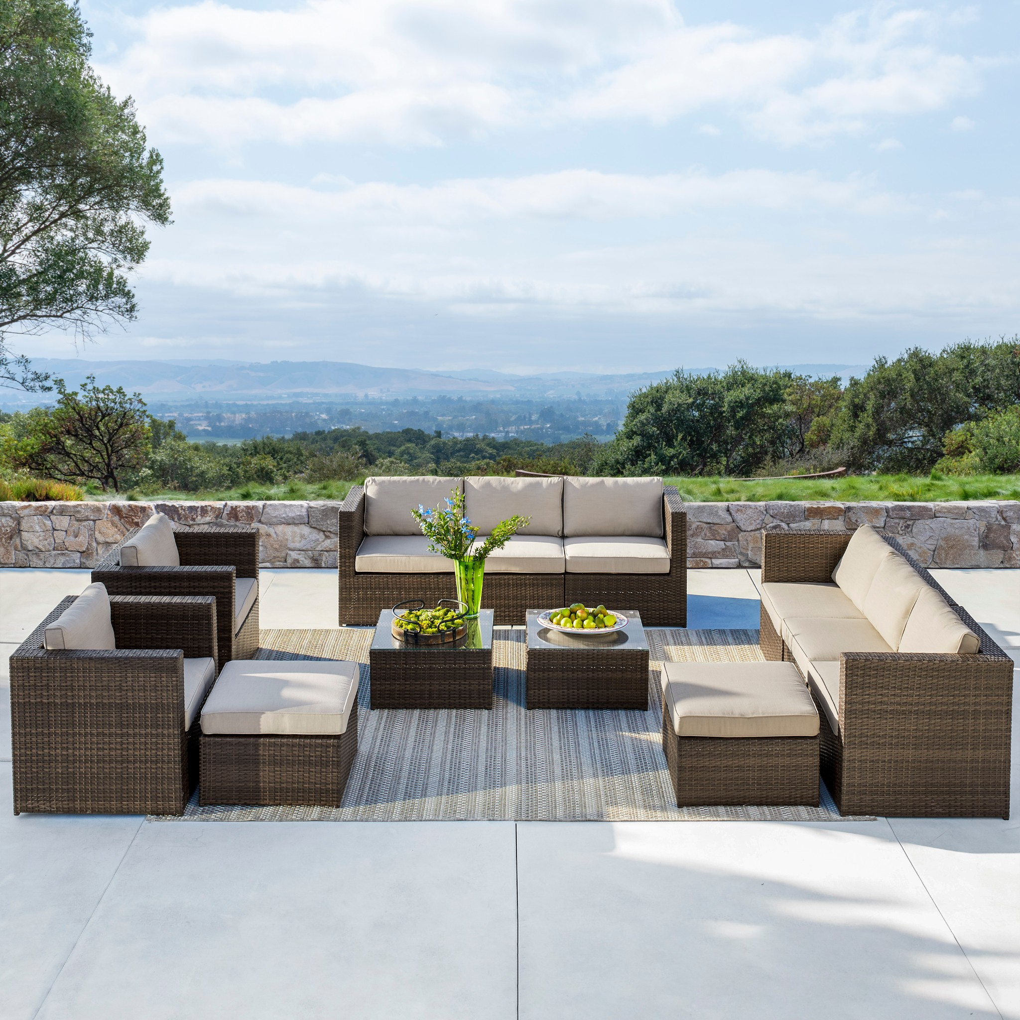 Details about Outdoor Furniture 12 Pieces Patio Sectional Wicker Rattan  Sofa set by Supernova
