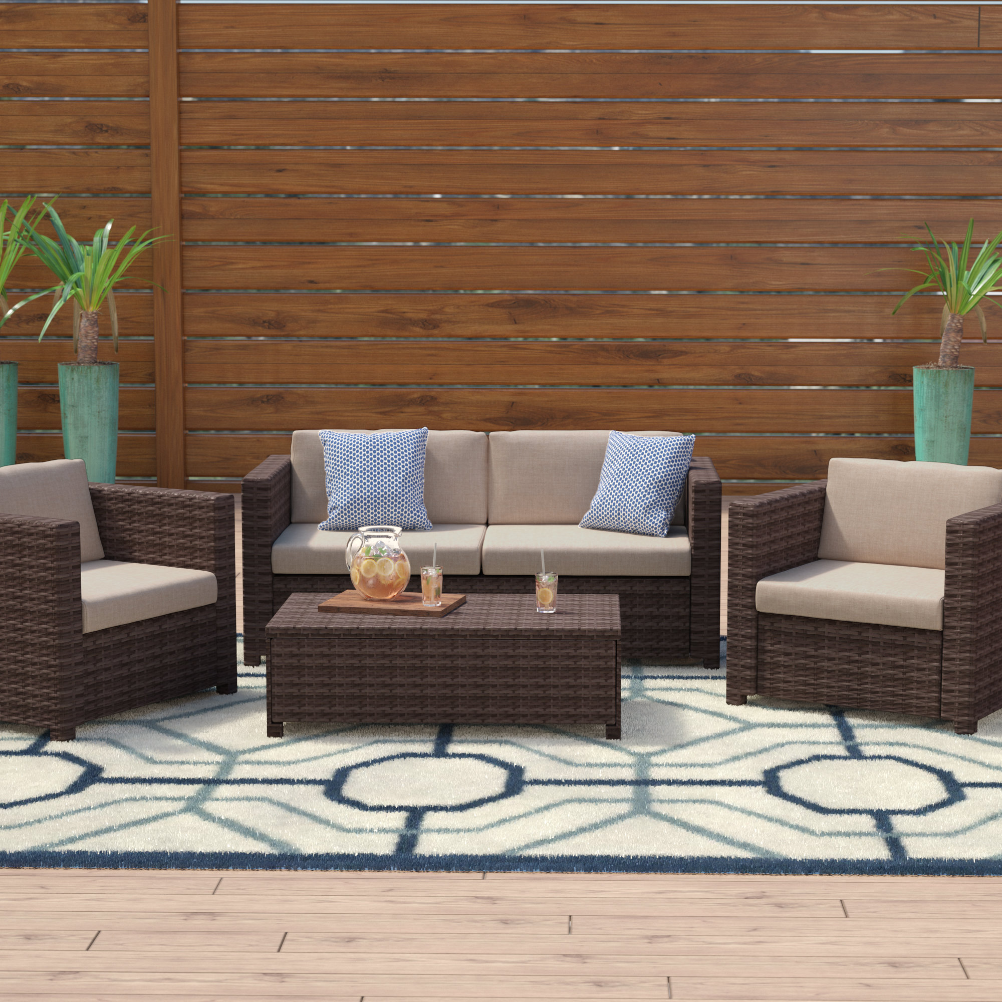 Mercury Row Kappa 4 Piece Rattan Sofa Set with Cushions & Reviews | Wayfair