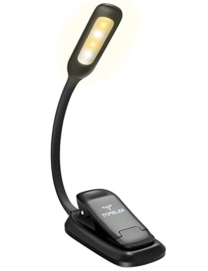 LED Reading Light, TopElek Rechargeable Book Light, 3-Level Brightness  (Cool and