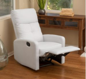 Teyana White Leather Recliner Club Chair