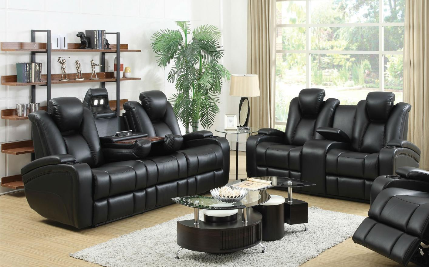 Black Leather Power Reclining Sofa and Loveseat Set - Steal-A-Sofa Furniture  Outlet Los Angeles CA