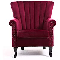 Warmiehomy Armchair Velvet Upholstered Accent Chair Armchair Wing Back  Fireside Chair with Solid Wooden Legs for