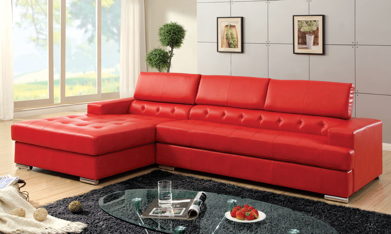 Red Sectional Sofa; White